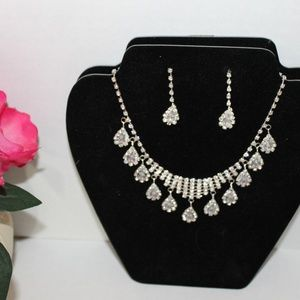Glitzy Clear Rhinestone Necklace, Earring Set